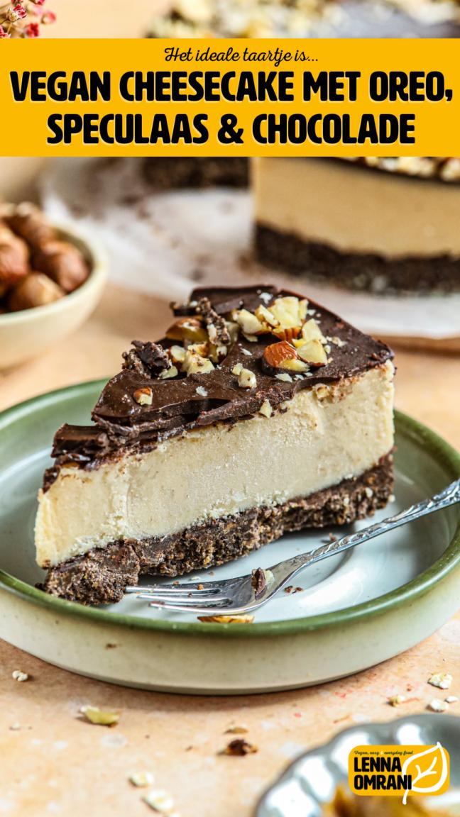 Vegan cheesecake met oreo, speculaas en chocolade